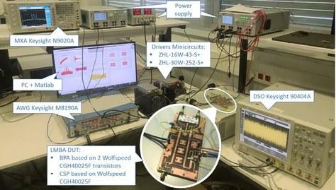Fotografia del set-up de validació per testejar els algorismes d'auto-ajustament i linealització d'un amplificador de banda ampla altament eficient basat en una arquitectura balancejada amb modulació de càrrega.