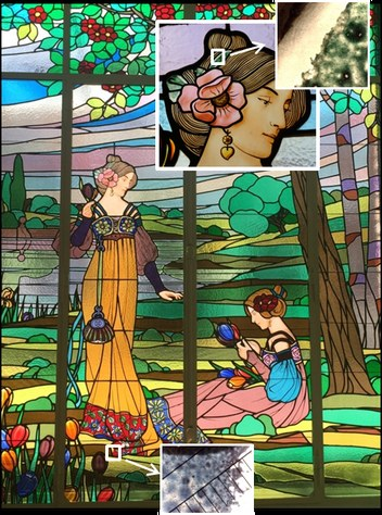 Imatge del vitrall modernista Les dames de Cerdanyola, realitzat per L. Dietrich (1888-1910) a on es pot veure la degradació característica dels esmalts blaus i verds (co. J. Bonet)