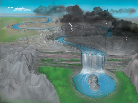 Artistic representation of a disorder-induced transition to the phase of topological isolation of Anderson. A river that flows along a straight path is altered by the mess in the underlying landscape. After going through a transition (waterfall), the River forms a closed circuit, a shape with a different topology of the way initially straight. In the phase of topological isolation of Anderson, the trivial band structure of a normal material is transformed into a topological band structure non-trivial due to the disorder in the couplings between the sites of the network. The index in the phase of the topological insulator of Anderson is different to the normal case without clutter. Lachina image Creative, copyright Bryce Gadway, University of Illinois at Urbana-Champaign.