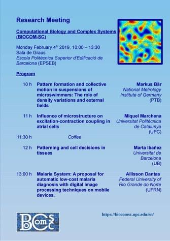 El grupo de Biología Computacional y Sistemas Complejos realizará su reunión de investigación el lunes 4 en la EPSEB