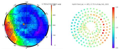 Mapas de contenido electrónico total vertical (VTEC) y de fracción de contenido electrónico superior (más 1) para latitudes mayores que 45 °, a las 1745 del día 041 del año 2003 a partir del mapas ionosféricos globales UQRG proporcionados por el grupo de investigación UPC-iones al Servicio GNSS Internacional (IGS). La estrella roja representa el polo magnético boreal.